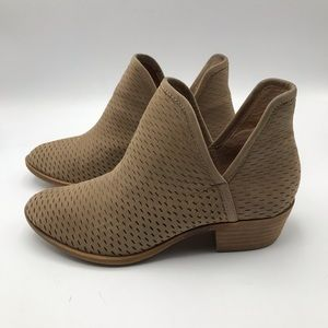 LUCKY BRAND Perforated BEIGE LEATHER Ankle BOOTIES